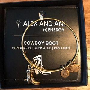 NWT Alex and Ani Cowboy Boot Bracelet